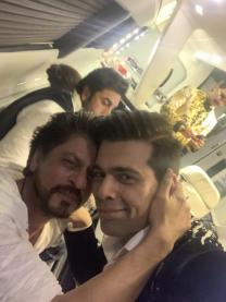 Shah Rukh Khan & Karan Johar High bromance mode; Ranbir Kapoor, Ranveer Singh lost in their own world, see pic