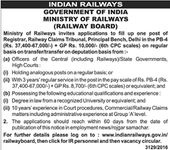 Railway Board Recruitment 2016 Directors, Registrar (05 Vacancies):